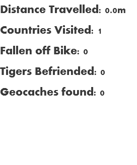 Distance Travelled: 0.0m Countries Visited: 1 Fallen off Bike: 0 Tigers Befriended: 0 Geocaches found: 0